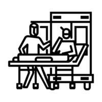 Abholung zum Krankenwagensymbol. Symbol der Aktivität oder Illustration zum Umgang mit dem Corona-Virus