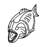 Piranha-Symbol. Gekritzel Hand gezeichnet oder Umriss Symbol Stil