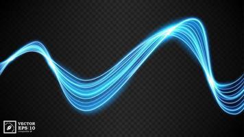 abstrakt blå vågig linje av ljus med en mörk bakgrund vektor