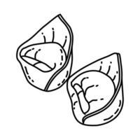 tortellini-ikonen. doodle handritad eller dispositionsikon stil vektor