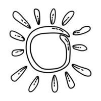 Sonne tropische Ikone. Gekritzel Hand gezeichnet oder Umriss Symbol Stil