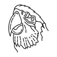scharlakansröd ara-ikonen. doodle handritad eller dispositionsikon stil vektor