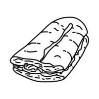 s'mores-ikonen. doodle handritad eller dispositionsikon stil