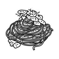 Spaghetti Carbonara Ikone. Gekritzel Hand gezeichnet oder Umriss Symbol Stil vektor