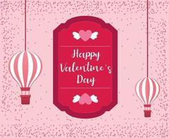 Valentinstag Konzepthintergrund mit Heißluftballons. Vektorillustration. vektor