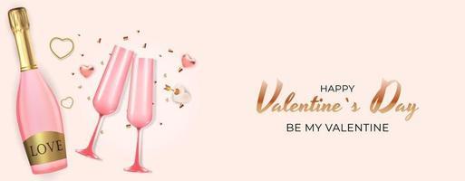 realistischer Entwurf des Valentinstags-Feiertagsgeschenkkartenhintergrunds. Vorlage für Werbung, Web, Social Media und Modewerbung. Plakat, Flyer, Grußkarte, Kopfzeile für Website-Vektorillustration vektor