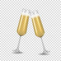 realistische 3d Champagner goldene Glasikone isoliert vektor