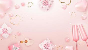 Kopieren Sie Raum Valentinstag Urlaub Geschenkkarte Vorlage rosa Hintergrund vektor