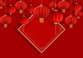 lyckligt kinesiskt nytt år semester bakgrund röd färg vektor