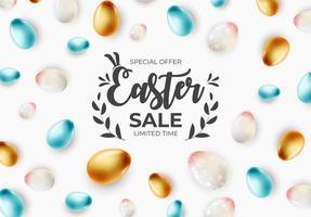 Osterverkaufsschablone mit Text und realistischen Ostereiern 3d vektor