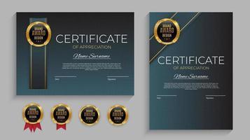 blått och guld certifikat för prestationsmall med guldmärke och kant vektor
