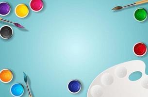 realistischer 3d Hintergrund, Dosen mit Pinsel und Palettenkunsthintergrund. vektor