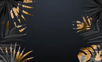 natürlicher realistischer tropischer Hintergrund des schwarzen und goldenen Palmblattes. Vektorillustration.