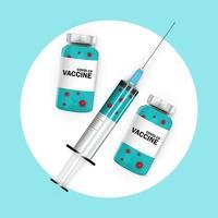 Zeit, um Konzept zu impfen. Coronavirus-Impfkonzept blauer Hintergrund vektor