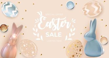 Osterverkaufsplakatschablone mit realistischen Ostereiern und Farbe 3d. Vorlage für Werbung, Plakat, Flyer, Grußkarte. Vektorillustration vektor