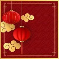 abstrakt kinesisk semesterbakgrund med hängande lyktor och guldmoln. vektor illustration