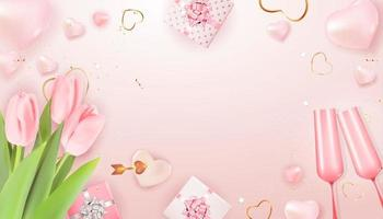 alla hjärtans dag semester presentkort kopia utrymme mall på rosa bakgrund vektor