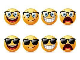 Emoticon-Zeichensatz für lächelnde Gesichter vektor