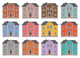 Hausbauvektorillustration lokalisiert auf weißem Hintergrundsatz vektor