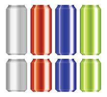 öl aluminium kan sätta vektorillustration isolerad på vitt vektor