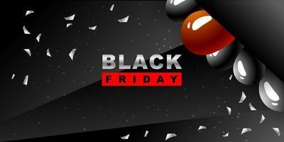 svart fredag vektor bakgrund. mörk mall för en banner med svarta ballonger