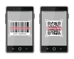 skanna QR-kod och streckkod till smartphone-set vektor