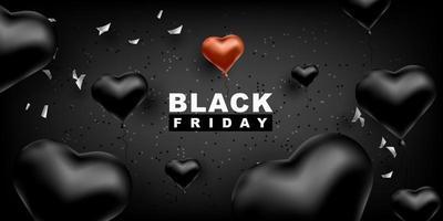 svart fredag vektor bakgrund. mörk mall för en banner med svarta ballonger hjärta form