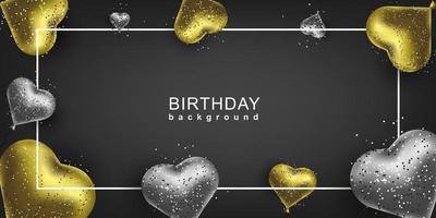 Grattis på födelsedagen bakgrund. guld och silver ballonger hjärta form och gnistrar. vektor inbjudan banner.