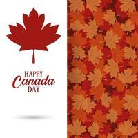 Kanada-Tagesfeierkarte mit Ahornblattlaub vektor