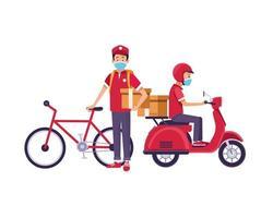 Zusteller mit Gesichtsmasken sowie Motorrad und Fahrrad vektor