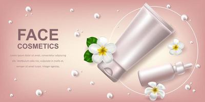 realistisk vektorillustration med vit blank av en flaska för serum och gel. tropiska hawaiianska blommor frangipani. banner för reklam och marknadsföring av kosmetiska produkter. användning för affischer, kort vektor