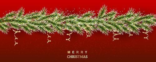 Weihnachtsbaumillustration. schneebedeckte Fichtenzweige mit goldener Serpentine. Vektorhintergrund für Banner, Websites, Einladungen. realistische Grenze auf einem roten Hintergrund vektor