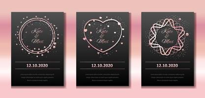 bröllopsinbjudan set. vektor banners med rosa guld ramar på en svart bakgrund. runda riktiga gränser med gnistrar och hjärtan. mallar för bröllop, födelsedag, fest.