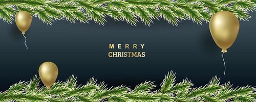 Weihnachtsbaumillustration. schneebedeckte Fichtenzweige mit goldenen Luftballons. Vektorhintergrund für Banner, Websites, Einladungen. realistische Grenze auf einem dunklen Hintergrund. vektor