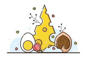 vektor illustration av keto diet på en vit bakgrund. ost, ägg och valnöt. användbara produkter för viktminskning, matlagning. menyn för restaurangen och caféet. linjär stil.