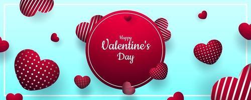 Valentinstag. Vektor süßer und niedlicher blauer Hintergrund mit realistischen 3d roten Haaren. Banner für die Website oder Postkarten. Platz für Text