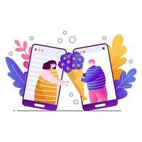 en kär kille från telefonen ger en vacker flicka en bukett blommor. appar för online dating. leverans av blommor och födelsedagshälsningar. platt vektorillustration på en vit bakgrund med blad vektor