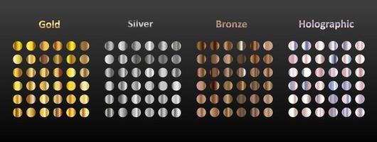 ein großer Satz von 144 runden Metallverläufen. Gold, Silber, Bronze und holografisches Metall auf schwarzem Hintergrund. Sammlung von Glitzern für Geburtstag, Urlaub und Neujahr. vektor