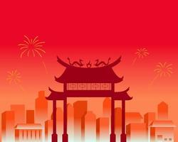 stadslandskap på kinesiskt nyårsfirande vektor