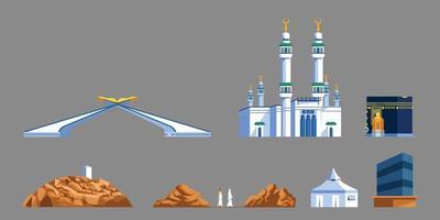Mekka Wahrzeichen flache Grafiksammlung vektor
