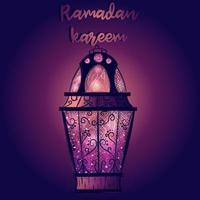 lutning tapet med islamisk ramadan lykta. lila gratulationskort med ett arabiskt ljus fullt av stjärnor och ljus. Mellanöstern kulturell och religiös helgdag. vektor