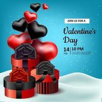Valentinstag. Vektor realistische Illustration mit roten und schwarzen Verpackungsboxen mit Bändern und Schleifen. herzförmige Luftballons. Schnee und Schneeverwehungen. Banner, eine Einladung für einen Urlaub der Liebe