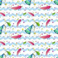 ein nahtloses Kindermuster mit Flamingofedern und festlichen Mützen und Konfetti. Hintergrund Zickzack. Vektordruck für Tapeten, Geschenkpapier und Textilien vektor