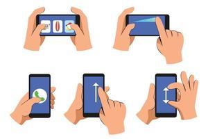 avslappnad tecknad handmanövrerad smarttelefonsamlingsuppsättning vektor