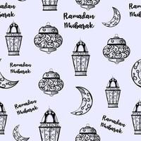 sömlösa mönster av ramadan kareem lyktor. repetitiv bakgrund med skisser av ljus. islamisk och arabisk traditionell helgdag. vektor