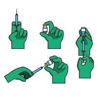 Arzthandgeste, die die Impfstoffinjektion vorbereitet vektor