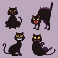 svart katt halloween tecknad karaktär samling uppsättning vektor