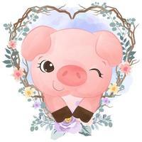 bedårande grisillustration i akvarell vektor