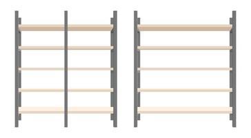 moderne Stahl und Holz Bücherregal Vektor-Illustration Set