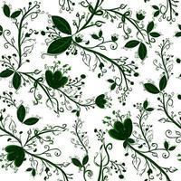 botaniska sömlösa mönster om internationell jorddag och ekologi. repetitiv bakgrund med gröna blad, blommor och örter. vektor
